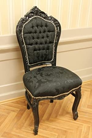 schwarz lackiert schwarzer Stoff Barockstuhl