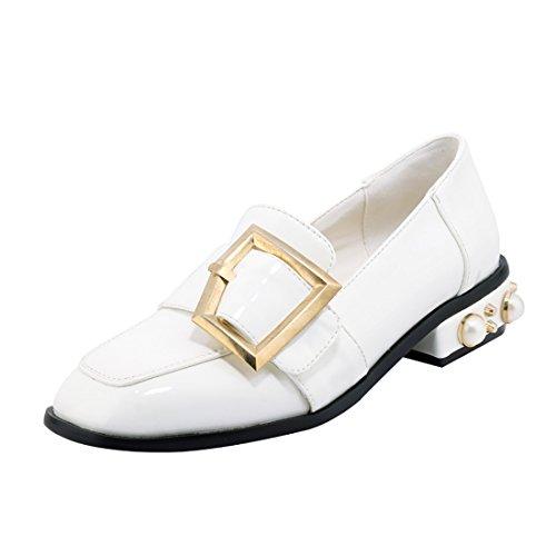 en a UH Vernis Blanc Plates Confortable Carre Bout avec Moyen Mode Chaussures de Talon Femmes Boucle w7zHUc7RqI