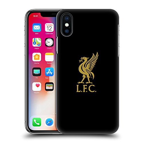 Official Liverpool Football Club Gold Logo On Black Liver Bird Hard Back Case Compatible for iPhone X/iPhone Xs