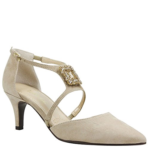 J.Renee Women's Halleigh Pump (Dark Beige Suede, 6.5 M US)