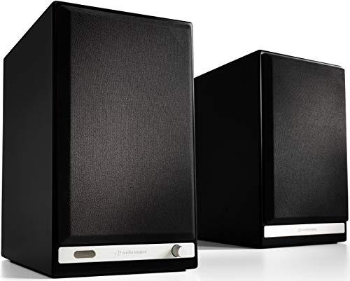 Audioengine HD6 150W Wireless Powered Bookshelf Speakers, Bluetooth aptX HD, USB 24-Bit DAC & Analog Amplifier (Black) (Best Sounding Wireless Speakers In The World)