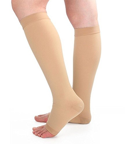 Runee High Quality 15-20 mmHg Medical Open Toe Compression Sock Knee High Hosiery Stocking For Swelling, Varicose Vein, Edema, Spider Vein (2XL, Beige)