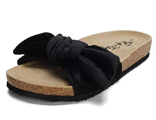PepStep Slide Sandals for Women/Cork Sole/Canvas Knot Bow/Womens Slides/Sandals for Women(6.5,Dark Velvet)