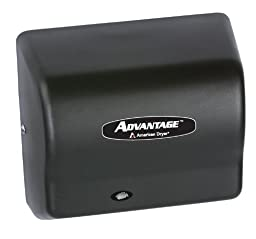 American Dryer AD90-BG Advantage Steel Standard Automatic Hand Dryer, Black Graphite Epoxy Finish, 1/8 HP Motor, 100-240V, 5-5/8'' Length x 10-1/8'' Width x 9-3/8'' Height