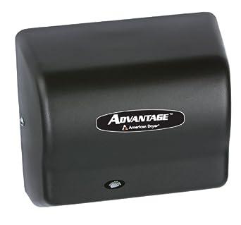 "American Dryer AD90-BG Advantage Steel Standard Automatic Hand Dryer, Black Graphite Epoxy Finish, 1/8 HP Motor, 100-240V, 5-5/8"" Length x 10-1/8"" Width x 9-3/8"" Height"