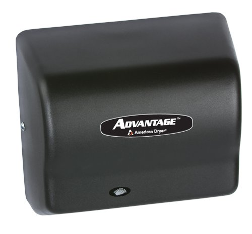 American Dryer AD90-BG Advantage Steel Standard Automatic Hand Dryer, Black Graphite Epoxy Finish, 1/8 HP Motor, 100-240V, 5-5/8