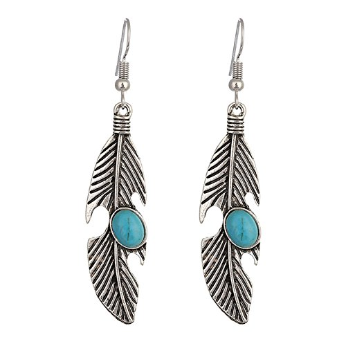 (Antique 925 Silver Plated Vintage Created turquoise leaf feather Charm Women Dangle earrings)