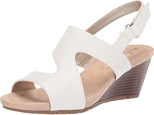 Bandolino Women's Gannet Wedge Sandal, White, 6.5 Medium -