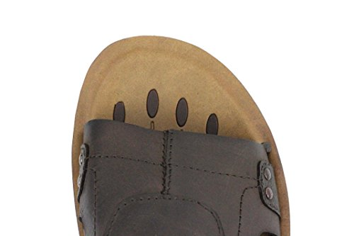 Mens Genuine Real Leather Sandals Tan Brown Mules Cut Out Style Back Strap Walking Slippers Coffee HtolsLwIwW