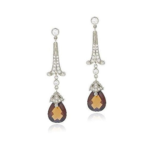 - Sterling Silver 18Ct Chocolate & Clear Cubic Zirconia Estate Dangle Earrings