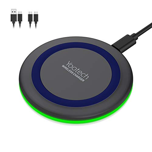 Yootech Wireless Charger,Qi-Certified 10W Max Fast Wireless Charging Pad Compatible with iPhone 11/11 Pro/11 Pro Max/XS MAX/XR/XS/X/8, Samsung Galaxy Note 10/S10/S9/S8, AirPods Pro(With 2 USB C Cable)