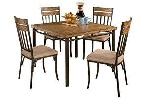 roundhill furniture 5 piece wood and metal dining room set includes