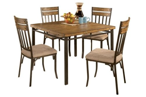Roundhill Furniture 5-Piece Wood And Metal Dining Room Set
