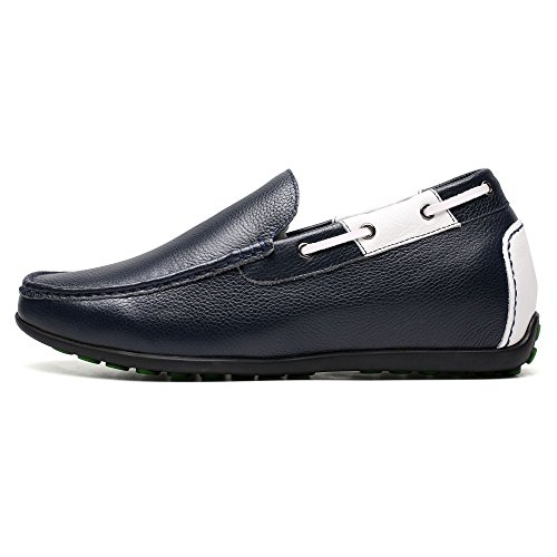Leather Mens Blue Black CHAMARIPA 36 Elevator 6 On 2 Platform Business Shoes Loafer Heeled Shoes cm Casual inches Slip wAdqCI