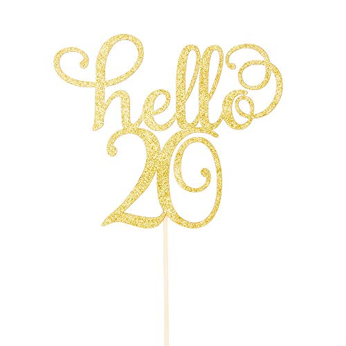 Price comparison product image Hello 20 Cake Topper-20th Birthday / Wedding Anniversary Party Sign Decorations