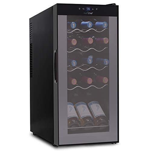 15 Bottle Wine Cooler Refrigerator – White & Red Wine Fridge Chiller Countertop Wine Cooler – Freestanding Compact Mini Wine Fridge 15 Bottle Capacity, Digital Control, Glass Door – NutriChef PKCWC150