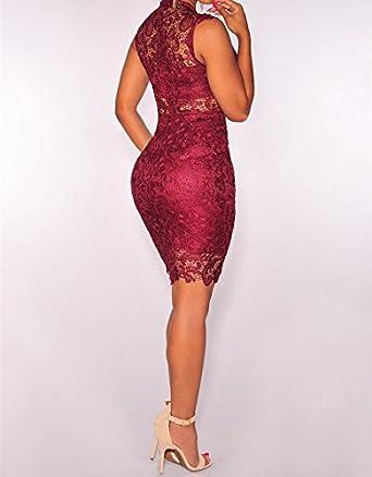 Vestidos De Mujer Sexys Pegados Al Cuerpo Color Vino Ropa De Moda Para Fiesta y Noche Elegante Casuales Encaje Rojos VE009 at Amazon Womens Clothing store: