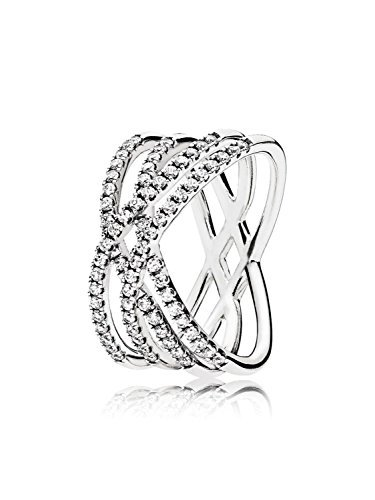 PANDORA Cosmic Lines Ring, Sterling Silver And Clear Cz, 196401CZ-60 by Pandora