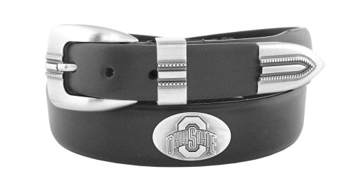(NCAA Ohio State Buckeyes Black Tip Leather Concho Belt, 32)