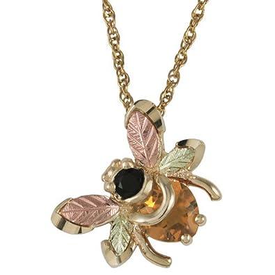 Amazon black hills gold bumble bee pendant with onyx and black hills gold bumble bee pendant with onyx and citrine aloadofball Gallery