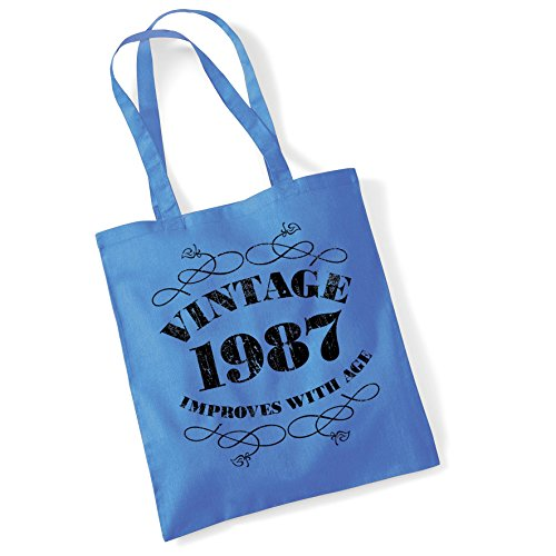 Tote Bags For Women Vintage improves with age 1987 Printed Cotton Shopper Bag Gifts Cblue