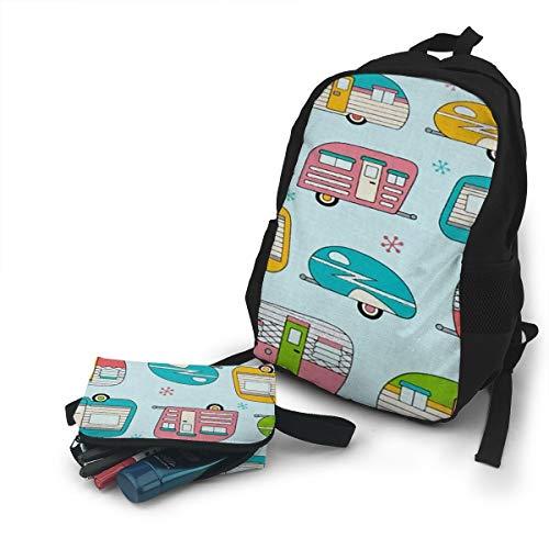 (Jiqnajn6 On The Road Metallic Campers Laptop Backpack,Travel Computer Bag for Women & Men,Anti Theft Resistant College School Bookbag,Business)