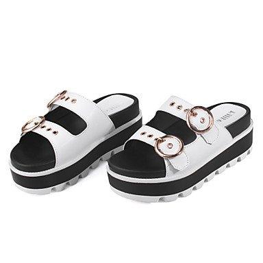 Verano Guantes–Sandalias para mujer vestido de microfibra de cuña de comodidad de color blanco negro negro