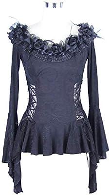 LHQ-HQ Palabra gótico señoras Atractivas Cuerno Hombro Camisa de Manga Hembra de la Camiseta Ropa gótica (Color : Black, Size : L): Amazon.es: Deportes y aire libre