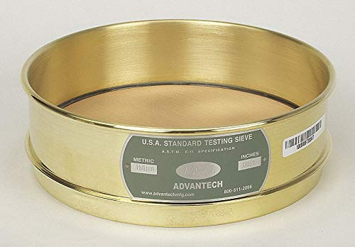 Image of Sieves ADVANTECH MANUFACTURING 325BB8F Brass Frame Wire Cloth Test Sieve, 8' Diameter, 325 Mesh Size, Full Sieve Height