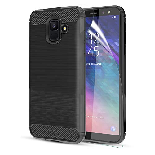 18 Case W/HD Screen Protector Carbon Fiber Soft TPU Brushed Texture Elastic Full-Body Rubber Heavy Duty Protective case, Black ()