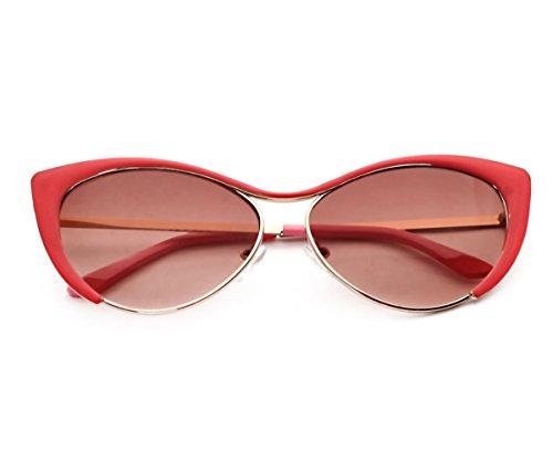 Heartisan Colorful Cat Eye Reflective Lens Full Rim Metal Frame Sunglasses - Chicago Target Stores