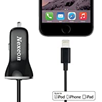Car Charger Nexcon Apple MFi Certified 3.4A Lightning Car Charger with 3.3ft Integrated Built-in Apple 8-Pin Lightning Cable For iPhone 6/ 6s 6 Plus 5S 5 5C iPad Pro air 2 Mini 4/3 iPod Touch 5 Nano 7 Black
