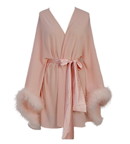 Boa Trim Pink Feather - Feather Sleeve Short Bridal Robe with Sash Short Sexy Night Gown Pajamas (Blush Pink)