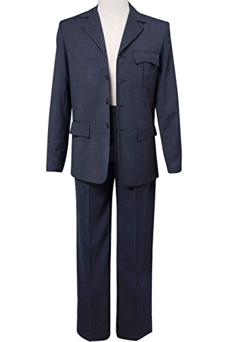 Wolfbar Dr Blue Pinstripe Blazer Pants Set Halloween Cosplay Costume Male (David Tennant Costume)