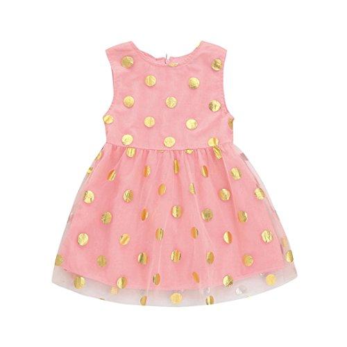 e5748d437c44 Kehen Infant Baby Girls Summer Princess Outfits Sleeveless Gold Dots ...