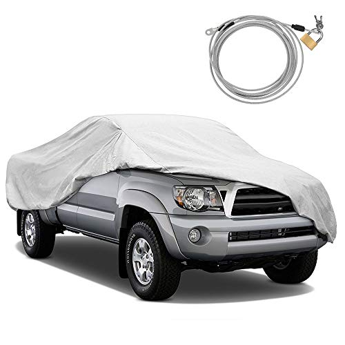 KAKIT Windproof Dustproof Truck Cover Water Resistant All Weather Sun Protection Car Cover for Truck - Free Windproof Ribbon & Anti-Theft Lock - Fits up to 242""