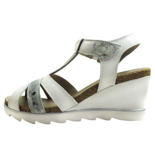 Velcro Wedge White Sandals JANA with Ladies waqXx86