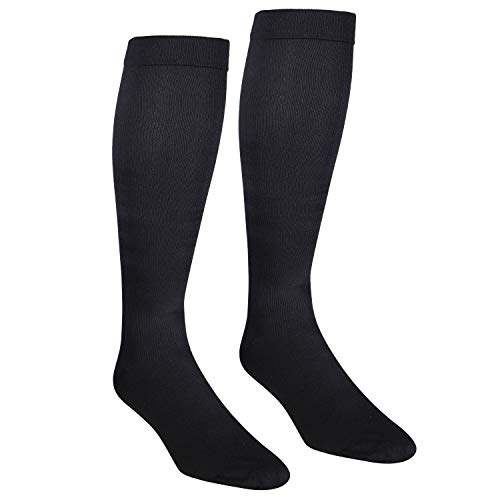 NuVein Men's Compression Socks Dress Trouser Style Over Calf Knee High, Black, Large