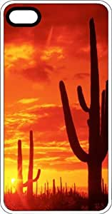 Cactus In The Golden Desert Sky White pc Case for Apple iPhone 5 or iPhone 5s