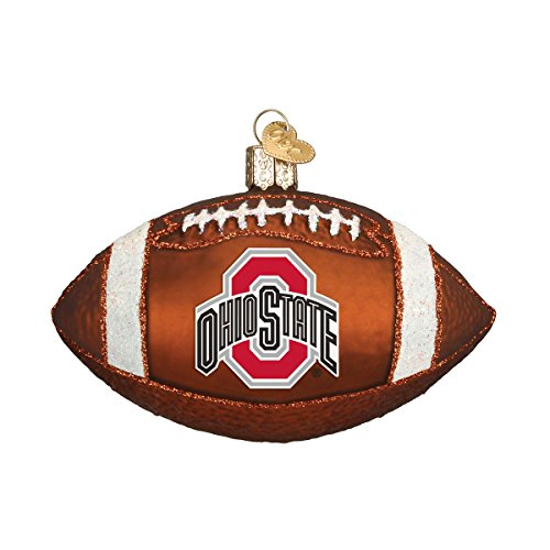 Old World Christmas Glass Blown Ornament with S-Hook and Gift Box, College Football Collection (Ohio State) ()