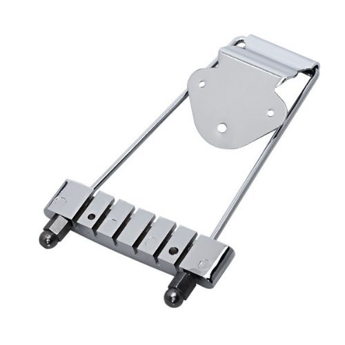 DN Chrome 6 String Tailpiece For Electric Guitar 3 Hole Mounting Plate DN10100286