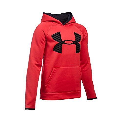 Under Armour Boys' Storm Armour Fleece Highlight Big Logo Hoodie, Red/Black, Youth Medium