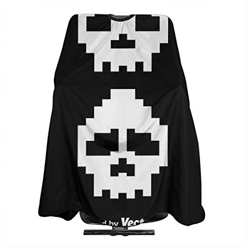(Haircut Barber Cape Cover Hair Apron,Pixel White Skulls Hair Salon Cape with Snap Closure for Hair Cutting,Styling and Shampoo 55