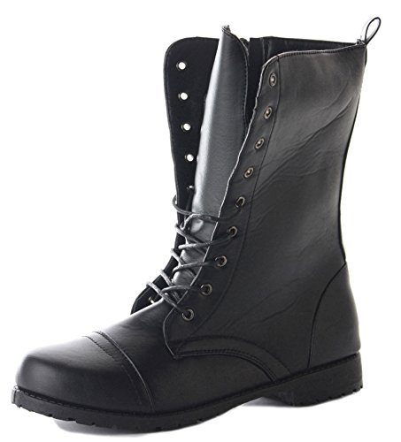 Ankle Style Worker Lace Ladies Womens Military Black Style B Black Up Boots Army Combat ZfnEFqw