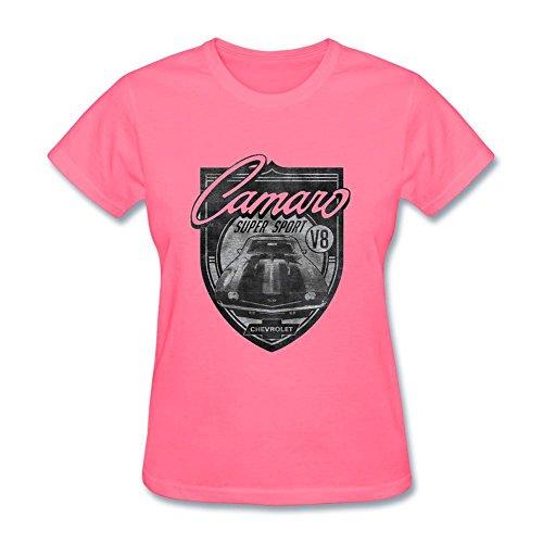 Minfa Women's General Motors Chevy Camaro Super Sport Graphic T-shirt Pink (Camaro Graphic Tee)