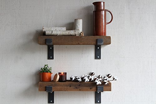 Barn Wood Shelves Chunky Rustic Industrial - Amish Handcrafted in Lancaster County, PA - Set of Two | 24'' Shelves (Genuine Salvaged/Reclaimed Barnwood with Raw Metal Brackets) | by Urban Legacy by Urban Legacy