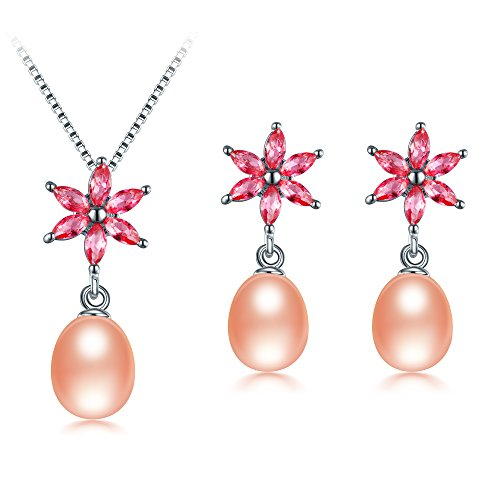 Genuine Aaa Pink Pearl - Freshwater Cultured Genuine Pearls Jewelry Set with Necklace & Earrings by DIAMOVI - 925 Sterling Silver - AAA Grade Zircon - Flower Design - Stunning Wedding Bridal Jewelry - (Pink)