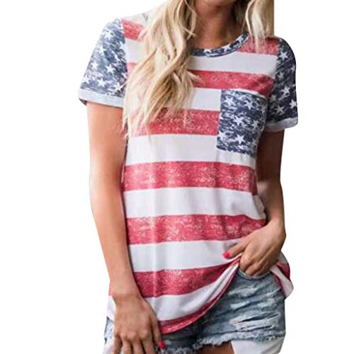 WILLBE Ladies Shirt Independence Day Tops Striped Print T-Shirt Sleeveless Top Casual Blouse Women Short Sleeve T-Shirt Covington Short Sleeve Printed