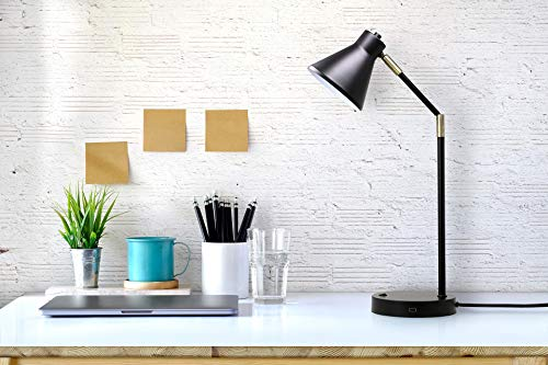 O'Bright LED Desk Lamp with USB Charging Port, 100% Metal Lamp, 270° Flexible Swivel Arms, Soft White LED Reading Light (3000K), Bedside Reading Lamp, Office Lamp, Table Lamp, ETL Listed, Black by O'Bright (Image #6)