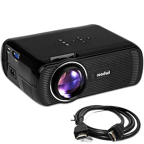 Roadwi Video Mini Portable Projector, 1500 lumens, Support 1080P HDMI AV VGA USB SD TV Multimedia Home Theater Games Family Movie Night Party Travel by roadwi
